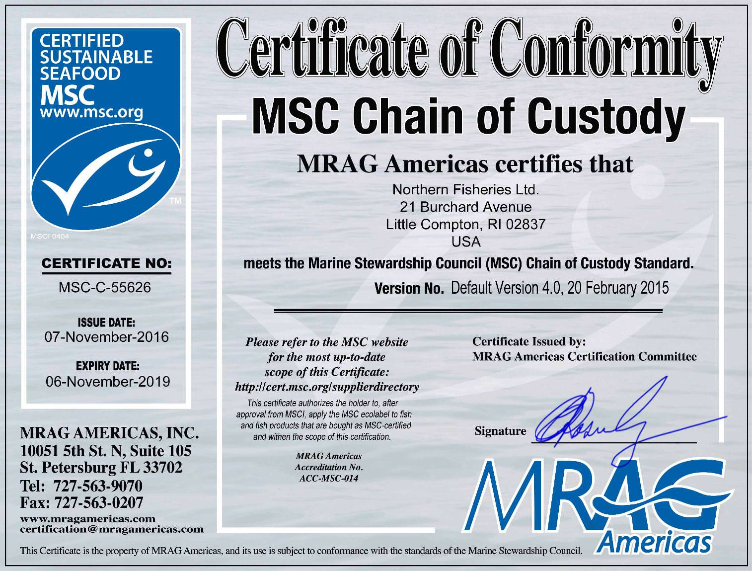 Certifications sustainability northern fisheries ltd msc certified xflitez Choice Image